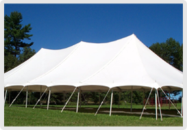 Tent setup on grass